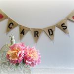 CARDS Mini Burlap Hessian Bunting- Wedding Vintage Photo Prop Birthday Party cbr