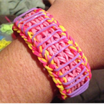 Pink/Yellow/Purple Sailors Pinstripe Rubber Rainbow Loom Band Bracelet