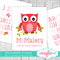 (Sweet Cherry Owls) Personalised Fabric Height Chart  - 30x106cm