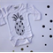 Pineapple Hand Screen Printed Long Sleeve Onesie