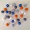 Felt Ball Garland in Orange, Light Blue, Blue, Grey, White