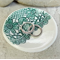 Round porcelain ring dish, green lace imprint. Candle holder, Ceramic.