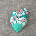 "Set of 2 ""Blossoming Love"" lavender hearts, mint green, sage green, Mother's day"