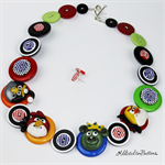 Birds Angry - Red black - Buttons Necklace - Button Jewellery - Earrings
