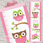 (Mod Owls) Pink or Blue Personalised Fabric Height Chart 30x106cm
