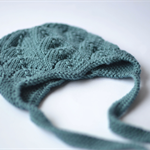 Ready to Ship Hand Knitted Teal Blue CLOVER Earflap Hat for NB to 3M Bub