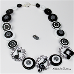 Musical Harmony Black and White - Button Necklace - Button Jewellery - Earrings