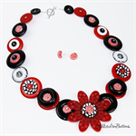 Crazy Daisy - Black White Red - Button Necklace - Earrings