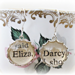 Elizabeth Darcy earrings Pride and Prejudice Jane Austen Sterling Silver Vintage