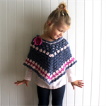 Poncho - crochet, alpaca wool, blue & pink, little girl