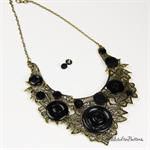 Metal Lace Bib Style Gold with Black Buttons Necklace & Earrings