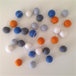 Felt Ball Garland in Orange, Light Blue, Blue, Grey, White