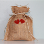 Wedding Favor Bags. Burlap with Hand Painted Hearts. Set of 10