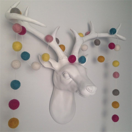 Felt Ball Garland Mustard, Mint, Berry, Yellow, Taupe, Light Pink, White