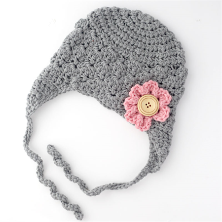 Grey Hand Crocheted Shell Earflap Beanie Hat with Pink Flower