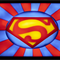 The Man of Steel Superman Symbol wax painting framed with LED lights