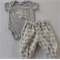 Baby girl or boy elephant appliqued short sleeved onesie with harem pants