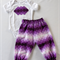Baby girls purple dots appliqued short sleeved onesie with harem pants