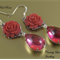 Deco Vintage Rose Pink Glass Flower Earrings