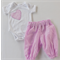 Baby girls heart appliqued short sleeved onesie with harem pants