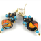 Black & Turquoise Lampwork Cluster Earrings