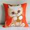 Kitten cushion cover Kitsch orange pillow made from vintage tea towel
