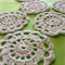 Set of 6 Snow White Cotton Blend Hand Crochet Flower Coasters
