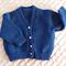 SIZE 6-12 mths - Hand knitted cardigan in dark blue with metallic thread: Unisex