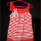 Toddler's red striped play pinafore dress