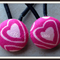 Pink Heart Button Hair Ties