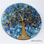 Tick Tock - Natural Tree of Life in Blue Buttons Resin clock - silent motion