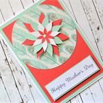 Happy Mother's Day Card with 3D Flower in Tangerine & Duck Egg Blue