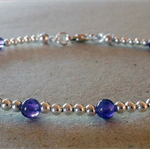4mm Amethyst And Sterling Silver Bracelet