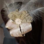 Champagne Romance... Beige Cream neutral Bridal wedding Headpiece Satin loops