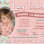 Beautiful Personalised Baby Girls 1st Birthday Canvas Artwork