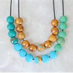 2 Tier Gold Fragment Clay Necklace Aqua, Emerald