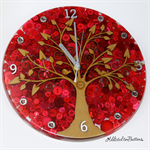 Tick Tock - Natural Tree of Life in Red Resin Button clock - silent motion