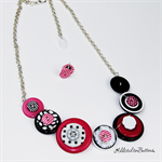 Button Fusion - Pink Black White Button Necklace - Button Jewellery - Earrings