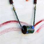 Leaves of the Rainforest - painted wood cylinder, kumihimo, beads PLUS earrings