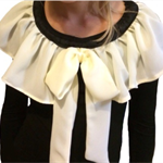 Girls Size 6 Black Long Sleeve Tshirt with Ivory Chiffon Bow and Trim