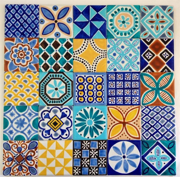 Moroccan Inspired Hand Painted Ceramic Tiles For Splashback