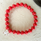 Swarovski Coral Red Pearls, Sterling Silver, stretch bracelet