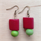 Red and green ceramic bead earrings.
