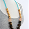 Chocolate Wood Necklace with Peach + Natural Wood on Turquoise Frosted Glass