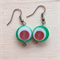Watermelon colour resin earrings.