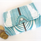 Coin or cosmetics purse - Free post in Oz!  Turquoise feather print.