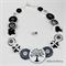 Black White Tree of Life - Original Designed Button - Button Necklace - Earrings