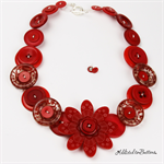 Crazy Daisy - Red with Damask Buttons - Button Necklace - Earrings