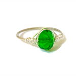 Handmade silver wire wrap ring, statement ring with green crystal