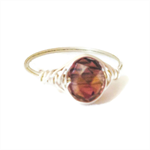 Handmade silver wire wrap ring, fine jewellery with rusty pink crystal